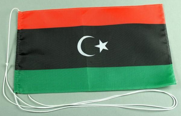 Tischflagge Libyen 25x15 cm optional mit Holz- oder Chromständer Tischfahne Tischfähnchen