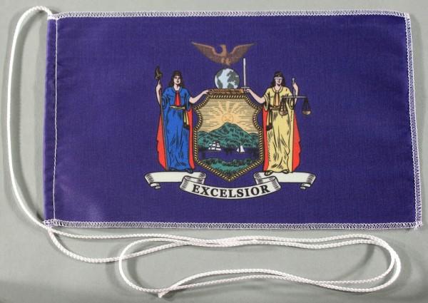 Tischflagge New York USA Bundesstaat US State 25x15 cm optional mit Holz- oder Chromständer Tischfah