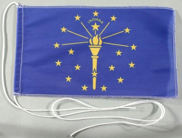 Tischflagge Indiana USA Bundesstaat US State 25x15 cm optional mit Holz- oder Chromständer Tischfahn