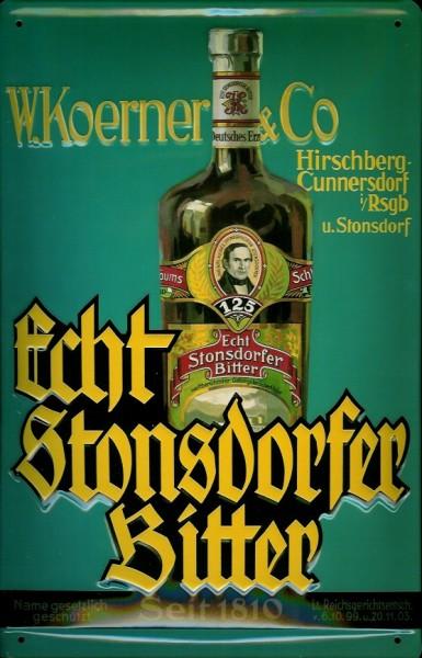 Blechschild Stonsdorfer Bitter Magenbitter retro Schild Werbeschild Nostalgieschild