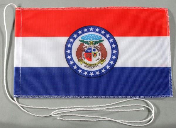 Tischflagge Missouri USA Bundesstaat US State 25x15 cm optional mit Holz- oder Chromständer Tischfah