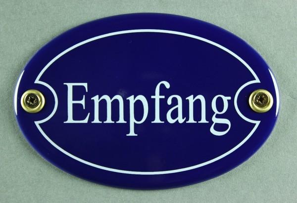Emaille Türschild Empfang blau oval Schild Toilettenschild Emailleschild Metallschild Blechschild