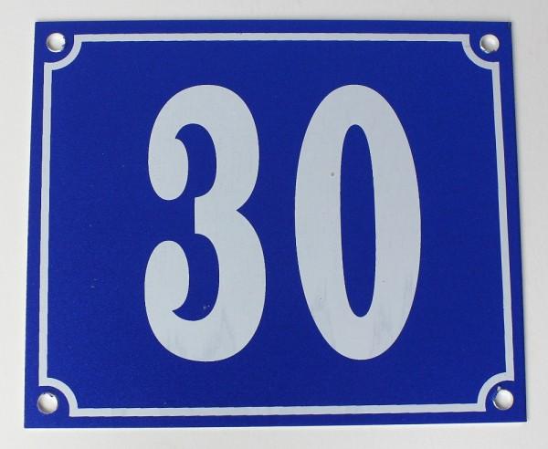 Hausnummernschild Aluminium Aluschild 1 mm Stärke Alu Schild Nr. 30 blau