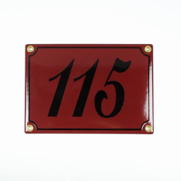 115 dunkelrot / schwarz Schreibschrift 17x12 cm sofort lieferbar 3-stellig Schild Emaille Hausnummer