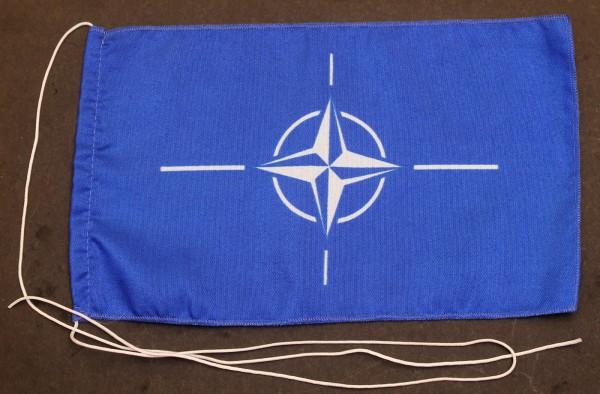 Tischflagge NATO 25x15 cm optional mit Holz- oder Chromständer Tischfahne Tischfähnchen