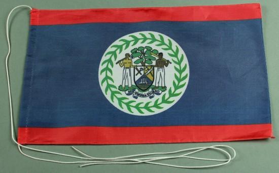 Tischflagge Belize 25x15 cm optional mit Holz- oder Chromständer Tischfahne Tischfähnchen