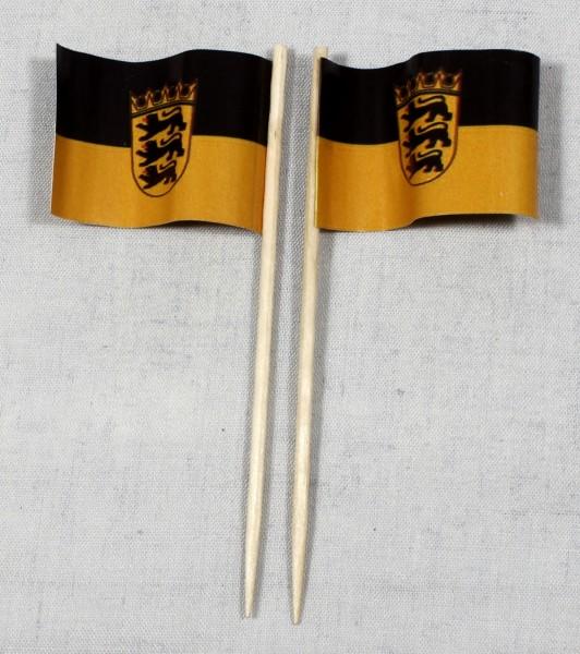 Party-Picker Flagge Baden Württemberg Papierfähnchen in Spitzenqualität 50 Stück Beutel