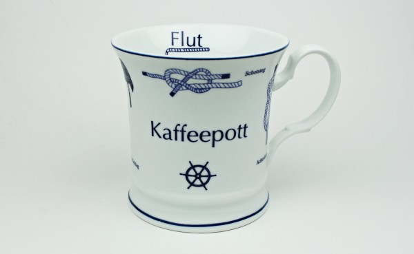 Kaffeepott mit Seemannsknoten hoch Knotenbecher Souvenir Teetasse Tee Becher Andenken Teebecher