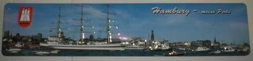 Strassenschild Hamburg meine Perle aus Stahlblech 46x10 cm Schild Andenken Souvenir