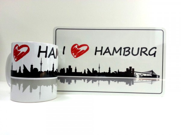 Hamburg Frühstücksset Becher + Brett I Love Hamburg