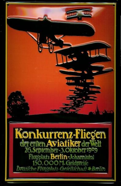 Blechschild Nostalgieschild Konkurrenz Fliegen Doppeldecker Berlin Johannisthal