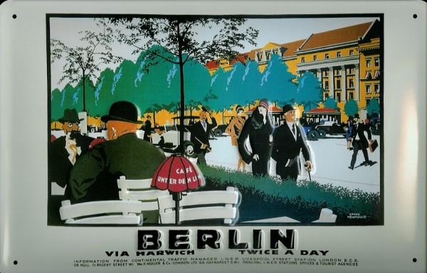 Blechschild Nostalgieschild Berlin Via Harwich