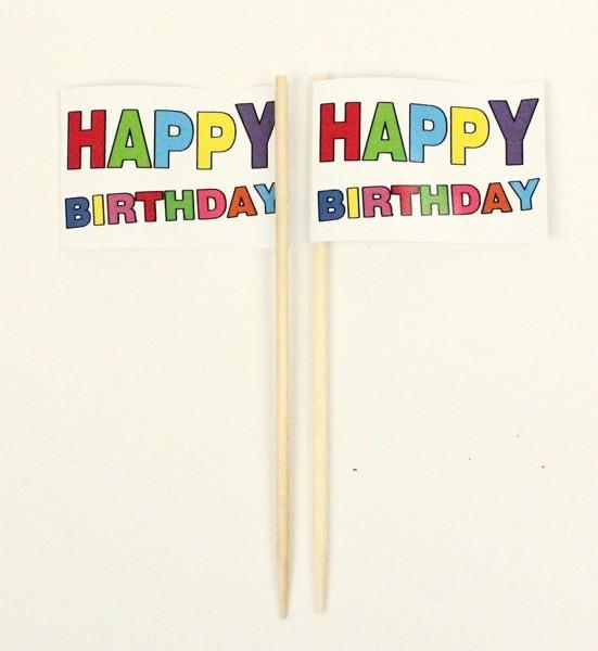 Party-Picker Flagge Happy Birthday bunt Geburtstag Papierfähnchen in Spitzenqualität 50 Stück Beutel