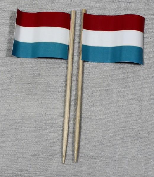 Party-Picker Flagge Luxemburg Papierfähnchen in Spitzenqualität 50 Stück Beutel