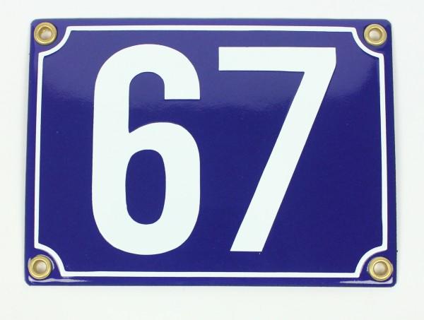 67 blau Blockschrift 12x18 cm sofort lieferbar Schild Emaille Hausnummer