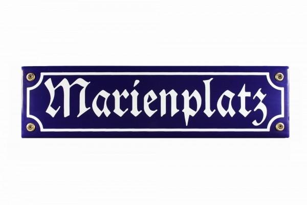 Strassenschild Marienplatz 30x8 cm München Souvenir Email Strassen Schild Emaille