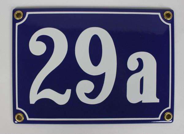29a blau Clarendon 18x12 cm sofort lieferbar 3-stellig Schild Emaille Hausnummer