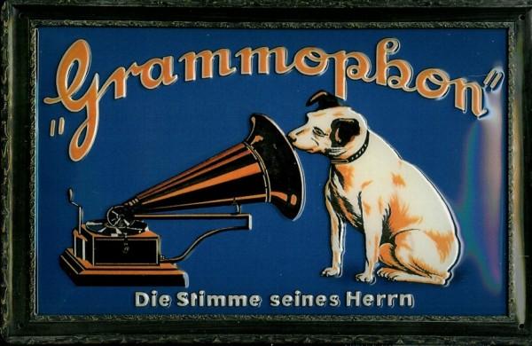 Blechschild Nostalgieschild Grammophon Hund Stimme seines Herrn