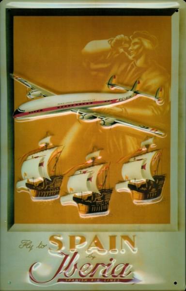 Blechschild Iberia Flugzeug Kolumbus Schiffe Flotte Schild Nostalgieschild