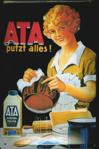 Blechschild ATA putzt alles Scheuerpulver Küche Putzmittel Schild retro Werbeschild Nostalgieschild