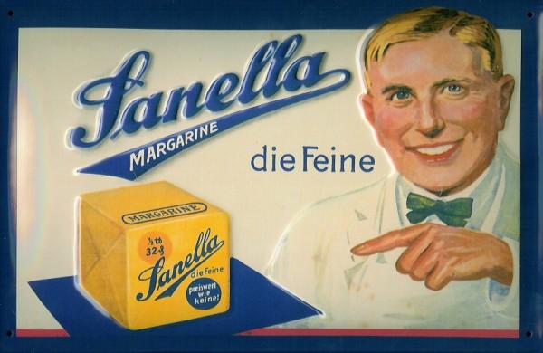 Blechschild Sanella Margarine Würfel retro Reklame Schild Werbeschild