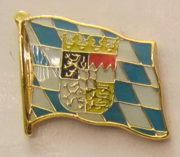 Pin Anstecker Flagge Fahne Bayern mit Löwen Wappen Raute Flaggenpin Button Badge Flaggen Clip Anstec