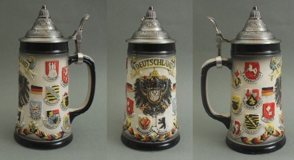Bierkrug Deutschland mit Zinndeckel rustikal Bierseidel Bier Humpen Bierglas