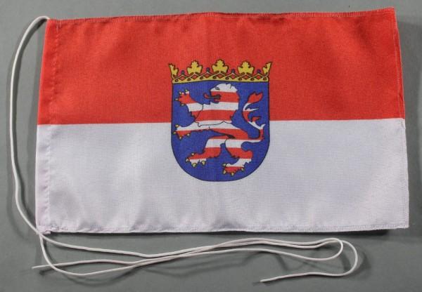 Tischflagge Hessen 25x15 cm optional mit Holz- oder Chromständer Tischfahne Tischfähnchen