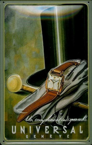 Blechschild Nostalgieschild Universal Armbanduhr Geneve Genf Schweiz Uhr
