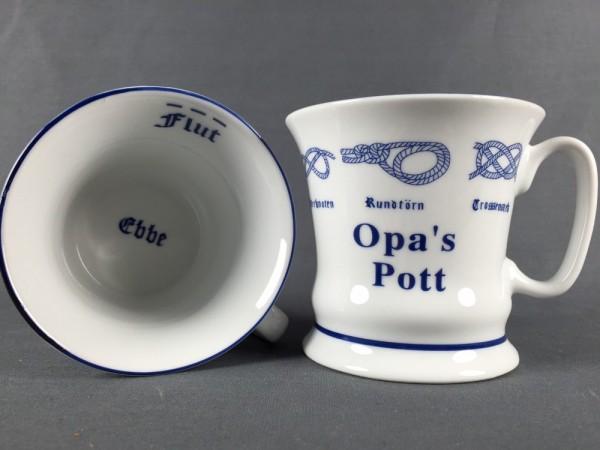 Opa´s Pott mit Seemannsknoten hoch Kaffeebecher Kaffeetasse Kaffee Pott