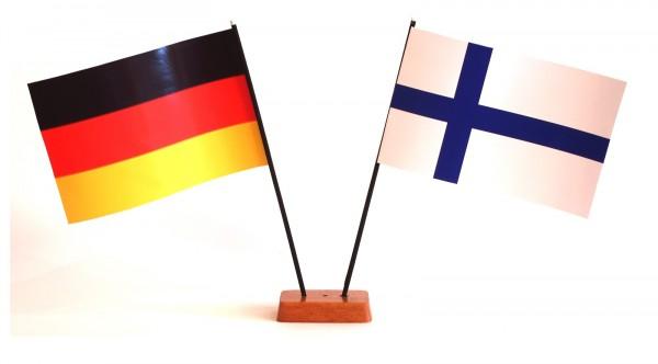 Mini Tischflagge Finnland 9x14 cm Höhe 20 cm mit Gratis-Bonusflagge und Holzsockel Tischfähnchen