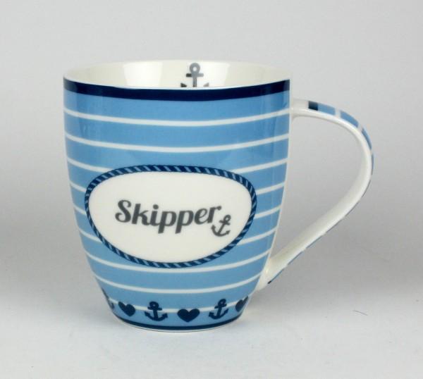 Maritimer Becher Skipper Anker Herz gestreift Tasse Kaffee Becher Andenken weiß blau