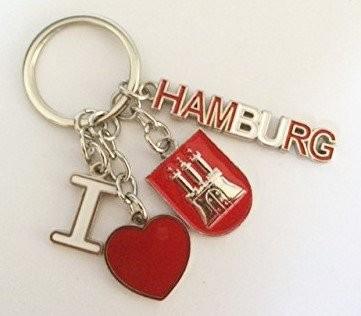 Schlüsselanhänger I love Hamburg Wappen Herz Mitbringsel Deko Souvenir