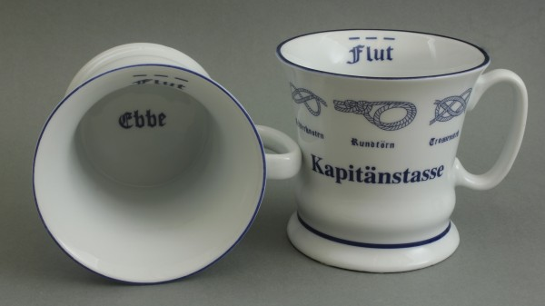 Kapitänstasse mit Seemannsknoten hoch Kaffeebecher Kaffeetasse Kaffee Pott