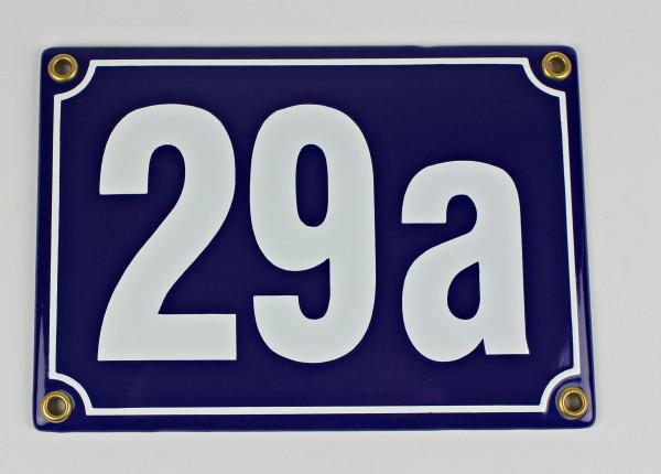 29a blau Blockschrift 17x12 cm sofort lieferbar 3-stellig Schild Emaille Hausnummer