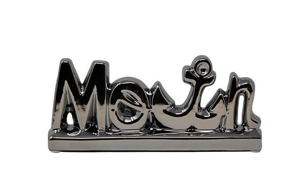 Moin Buchstaben Schriftzug Keramik Silber Anker Deko maritim