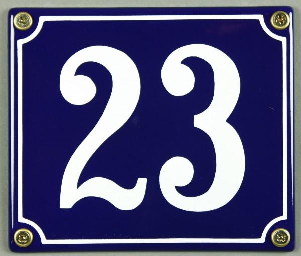 Hausnummernschild Emaille 23 blau - weiß 12x14 cm sofort lieferbar Schild Emaile Hausnummer Haus Num