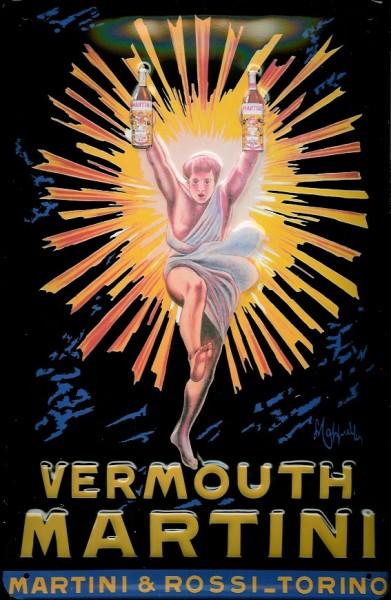 Blechschild Martini Vermouth (2) leuchtender Mann Tänzer nostalgisches Schild Werbeschild