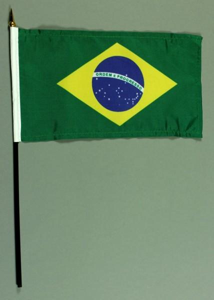 Tischflagge Brasilien 15x25 cm BASIC optional mit Tischflaggenständer