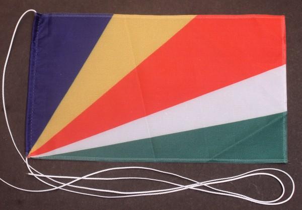 Tischflagge Seychellen 25x15 cm optional mit Holz- oder Chromständer Tischfahne Tischfähnchen