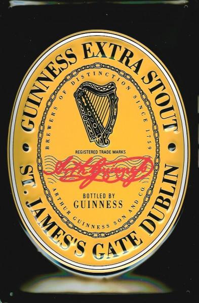 Blechschild Guinness Beer Black Label Logo Harfe Bier Werbung Schild nostalgisches Werbeschild