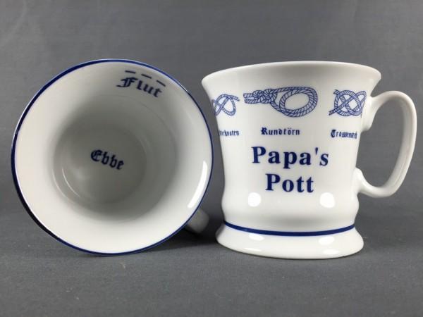 Papa´s Pott mit Seemannsknoten hoch Kaffeebecher Kaffeetasse Kaffee Pott