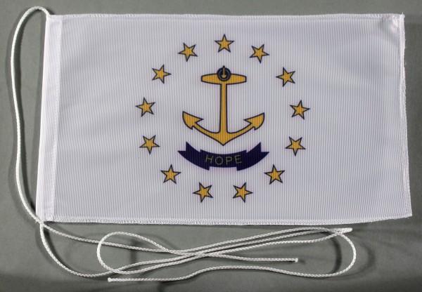 Tischflagge Rhode Island USA Bundesstaat US State 25x15 cm optional mit Holz- oder Chromständer Tisc