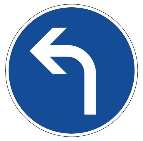 Verkehrsschild / Verkehrszeichen Fahrtrichtung links 600 mm rund Aluminium reflektierend Typ 1 VZ 20
