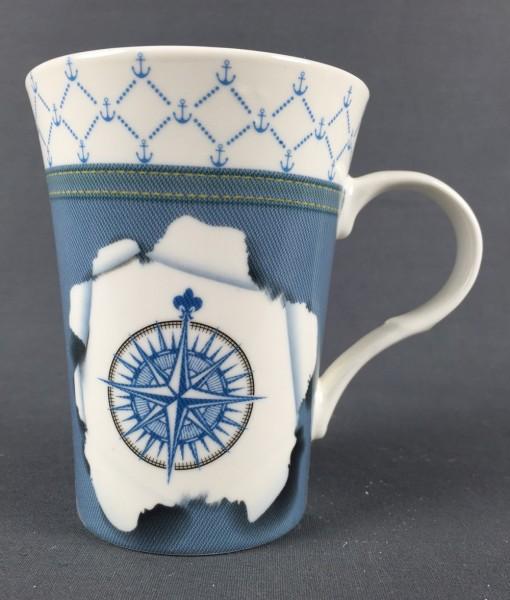 Maritimer Becher Windrose Tasse/Kaffeebecher in Geschenkbox Kaffee Becher Andenken