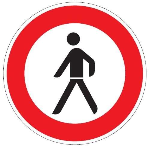 Verkehrsschild / Verkehrszeichen Verbot für Fußgänger 420 mm rund Aluminium reflektierend Typ 1 VZ