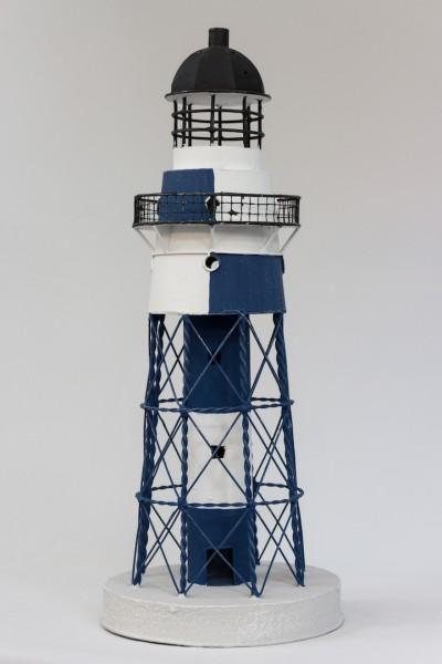 Blechleuchtturm blau / weiss 41 cm Leuchtturm Modell