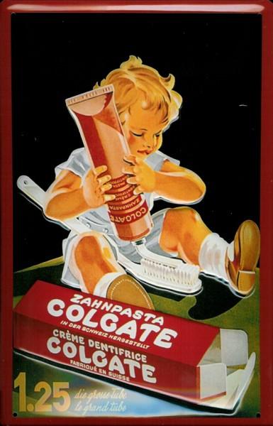Blechschild Colgate Zahnpasta Kind Tube Zahnbürste Schild retro Werbeschild Nostalgieschild