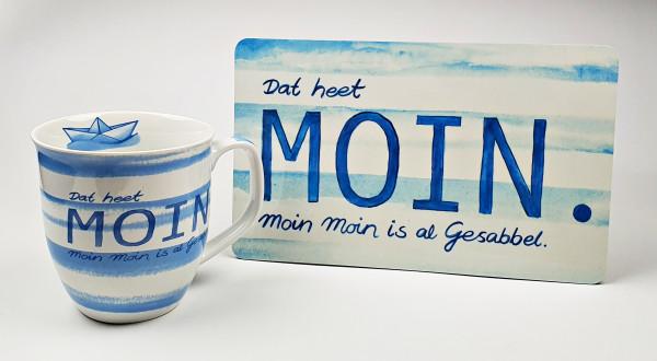 Frühstücksset Dat heet Moin Gesabbel maritimer Becher Kaffeetasse + Frühstücksbrett Brotbrett Schnei