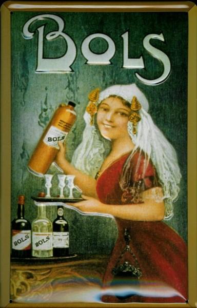 Blechschild Bols Frau mit Tablett und Flasche Schild nostalgisches Werbeschild
